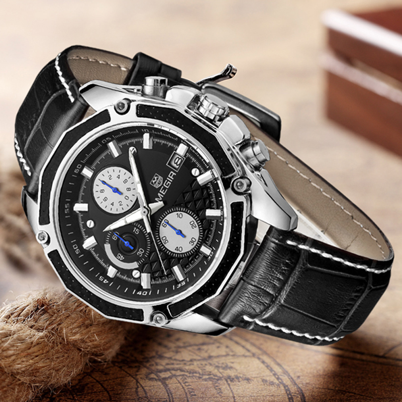 Fashion Style MEGIR Mens Watches Top Brand Luxury Leather Quartz-watch Chronograph Luminous Sport Men Wrist Watch reloj hombre 2017 fashion men watches top brand luxury function date leather sport watch male business quartz wrist watch reloj hombre