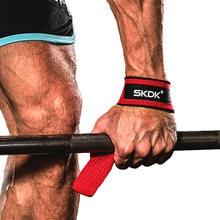Skdk 2 pcs/par ginásio fitness levantamento de peso aperto correias haltere apertos de mão treinamento bandas de suporte para o pulso barbell puxar para cima