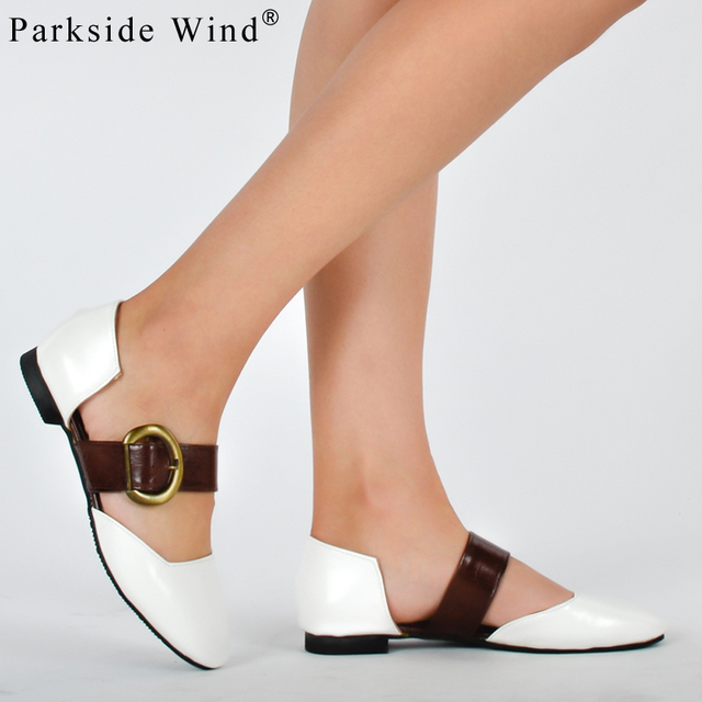 Parkside Wind Ankle Strap Flat Sandals For S European Style Soft Shoes Woman White Beach