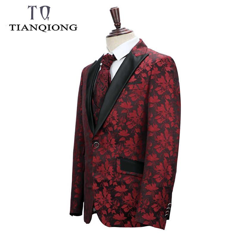 天原作ブランド男性タキシードスーツプラスサイズ花柄スリムフィットの結婚式のスーツメンズフォーマルステージシンガースーツ喫煙