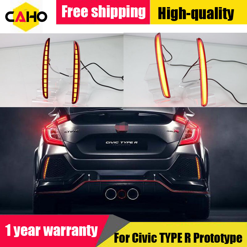 For Honda Civic Hatchback TYPE R Prototype 2016 2017 2018 LED Reflector Lamp Rear Fog Lamp Bumper Light Brake Light