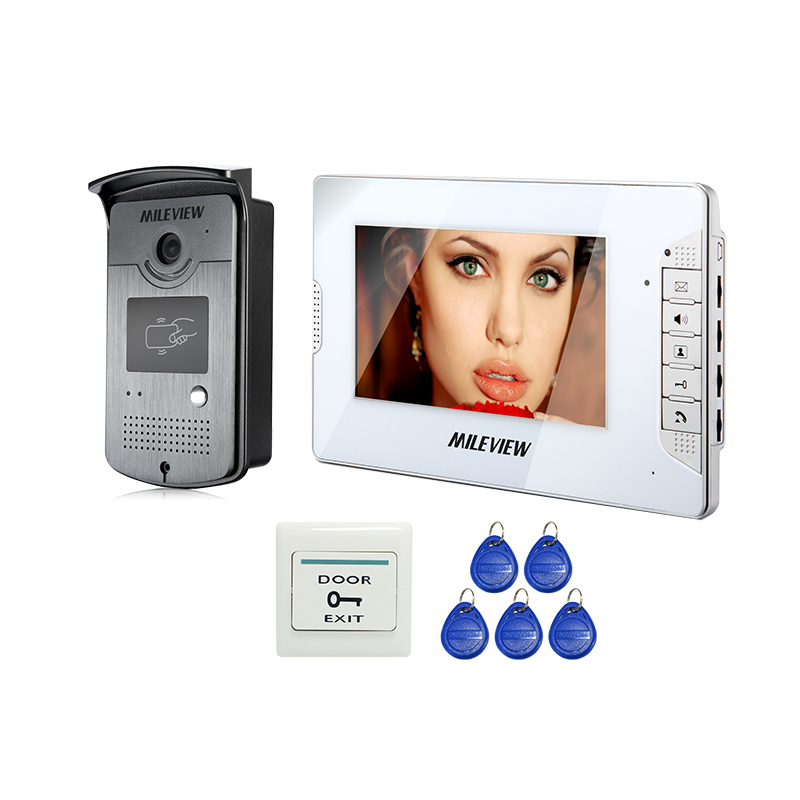 Wholesale New 7 inch Color Home Video Door Phone Intercom System 1 White Monitor + 1 Waterproof RFID Access Camera FREE SHIPPING exported quality screen printing frame 7 5x10 inch 19x25cm wholesale price door to door