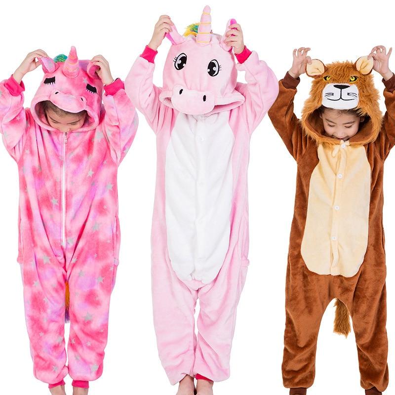 Kids Kigurumi Pajamas Animal Cosplay Panda Unicorn Lion Cartoon Winter Warm Children Pajama Onesies Sleepwear For Girls Boy