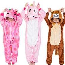 Ensemble kigurumi enfants pyjamas Animal Cosplay Panda licorne lion dessin animé hiver chaud enfants pyjama onesies vêtements de nuit pour les filles