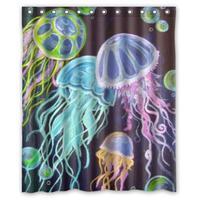 Стильный Прекрасный Медузы Jelly Fish пользовательские душ Шторы узор Водонепроницаемый душ Шторы для Ванная комната 66*72 дюймов