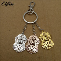 Elfin 2017 Trendy Newfoundland Key Chains Gold Color Silver Color Animal Pet Jewellery Fashion Dog Key Rings For Women Men