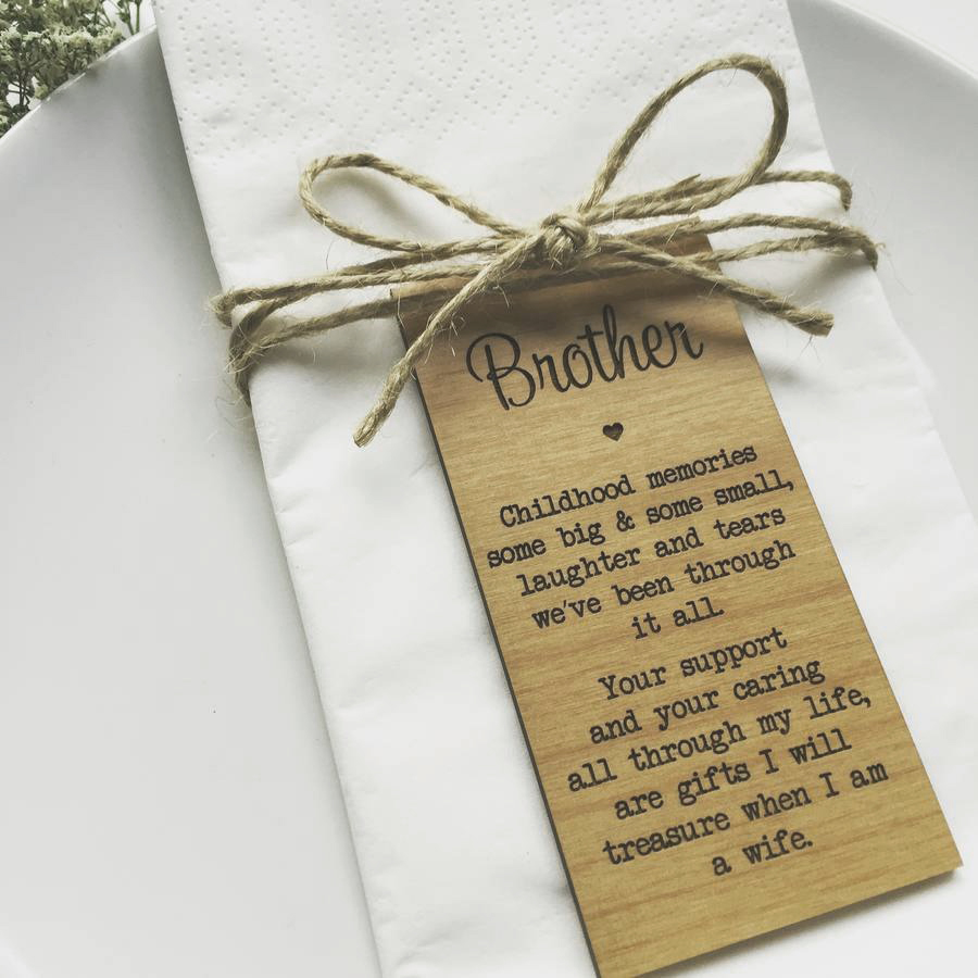 Brother Wedding Custom Place Cards, Wedding Gifts For
