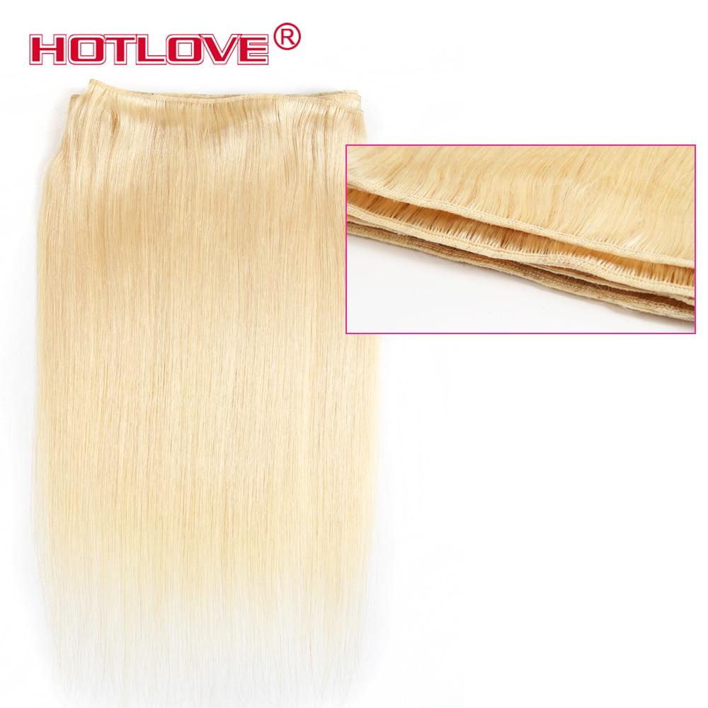 Echthaarverlängerungen Haarverlängerungen Gerade Haarwebart 613 Blonde Bundles 1/3 Pcs Brasilianische Haarwebart Hotlove 100% Menschliches Haar Blonde Bundles Remy Haar Doppel Schuss