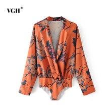 2017 Autumn New Pattern European Fashion Joker Temperament Lapel Long Sleeve V Lead Printing Lin Tai Clothes  A1928