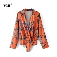 VGH 2018 New Women S Shirt European Fashion Long Sleeve V Neck Sexy Floral Print Feminine