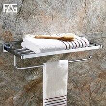 цены FLG Bathroom Shelves Metal Chrome Silver Wall Bath Shelf Holder For Towel Hanger Towel Rail Towel Bars Bathroom Accessories
