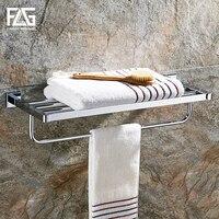 FLG Bathroom Shelves Metal Chrome Silver Wall Bath Shelf Holder For Towel Hanger Towel Rail Towel Bars Bathroom Accessories