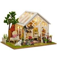 Legno Mobili Dollhouse Kit Miniature Negozio di Fiori Mestiere Con Luci A LED DIY Casa di Bambola Di Compleanno Romantico Regalo Di Natale