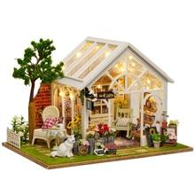 Wood Dollhouse Furniture Kit Miniature Flower Shop Craft With LED Lights DIY Doll House Romantic Birthday Christmas Gift abwe best sale 3 pcs flower print wood japanese folk craft kokeshi doll pink