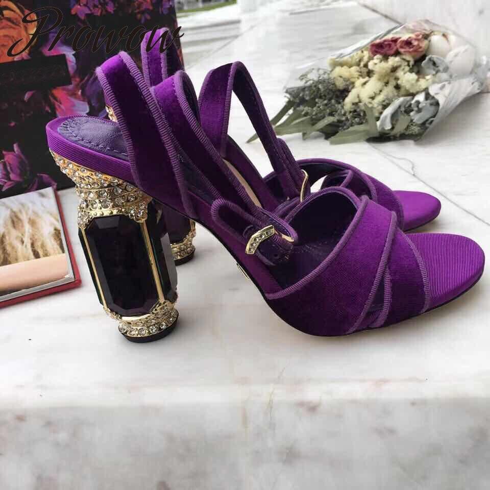 Prowow New Velvet Bucke Strap Summer Sandals Open Toe Crystal Heel HIgh Heel Sandals Shoes Women Dress Shoes