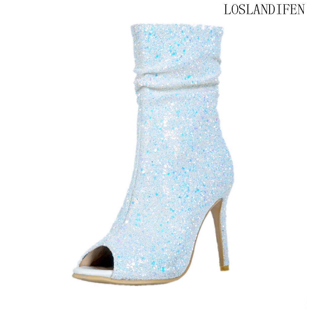 Ladies New Hot Design Style Handmade High Heel Boots Nubuck Western Big Size Party Evening Fashion Mid-Calf Booty Shoes A041
