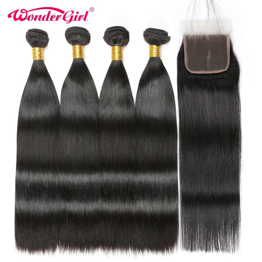 Malaysian Straight Hair 4 Bundles With Closure Remy Human Hair Bundles With Closure Wonder girl 4