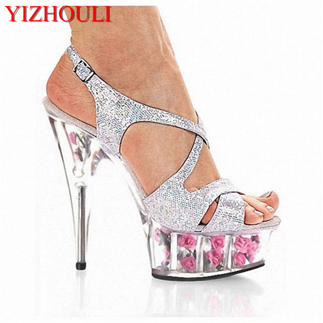 Glitter romantic rose crystal sandals 15cm high-heeled shoes 6 inch flower  wedding shoes Gorgeous gladiator sexy lady s shoes f4c257f0920b