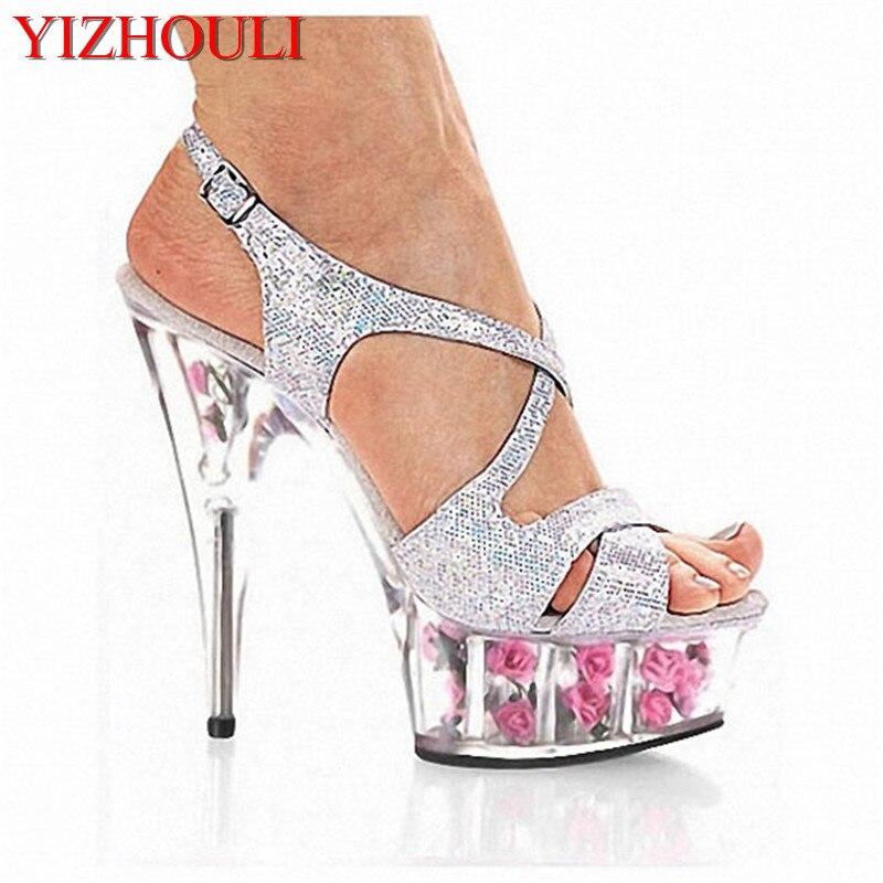 Hermosos Tacón Cm 01 Boda Sexy Alto Romántica Flor Cristal Rosa Purpurina Sandalias 6 Gladiador 02 15 Mujer Pulgadas Zapatos De X8wHxq6