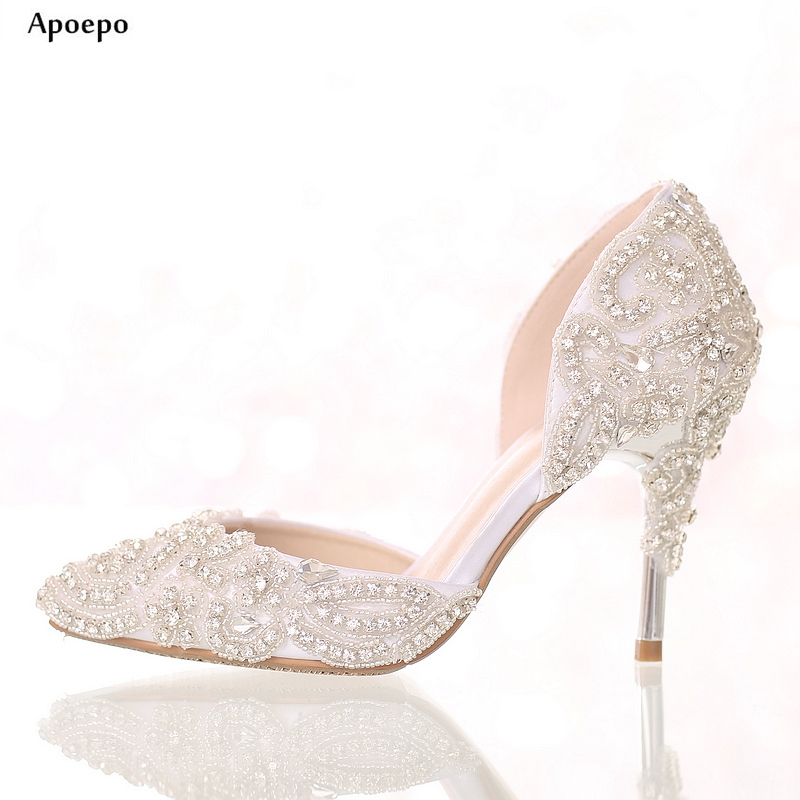 Apoepo Bling Bling Crystal Embellished High heel Shoes Sexy Pointed toe wedding heels for Woman Cutouts Rhinestones Dress Shoes hot selling silver leather pointed toe high heel shoes 2017 sexy thick heels crystal embellished pump cutouts ankle strap shoes