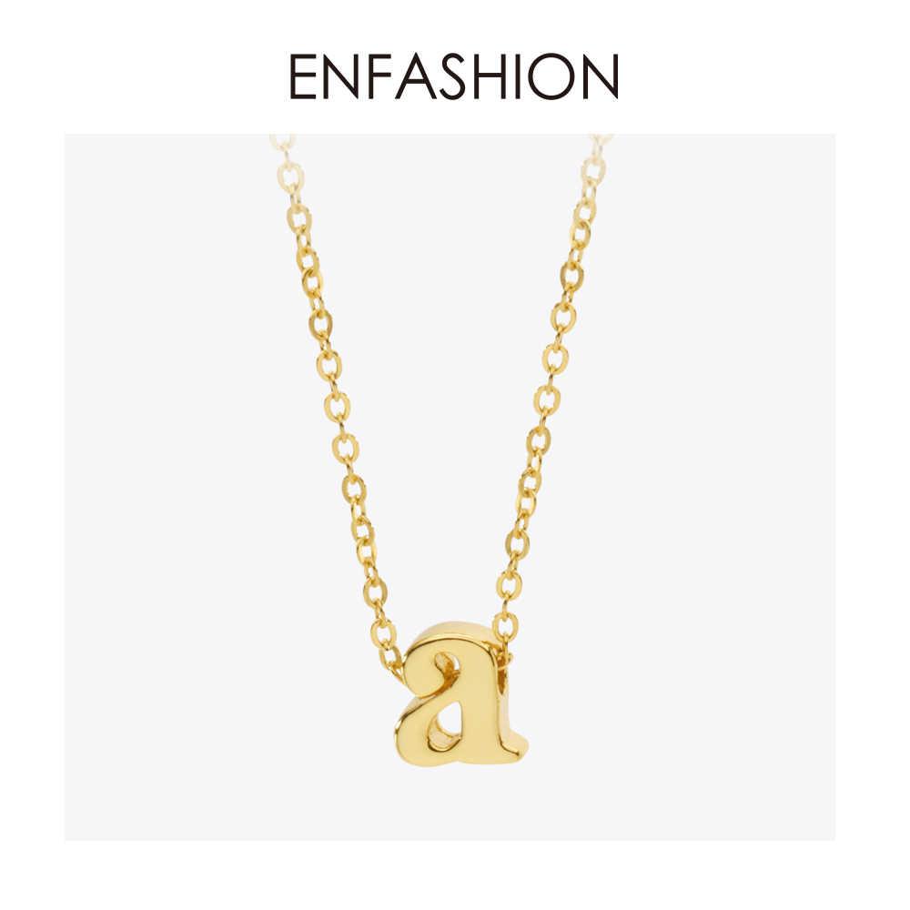 Enfashion małe naszyjniki z wisiorem w kształcie litery alfabetu naszyjnik z inicjałami złoty choker naszyjnik dla kobiet DIY biżuteria P9200