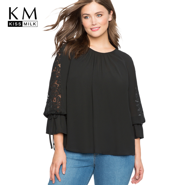 7ef9d08bb9ae3 Kissmilk 2018 Plus Size Patchwork Women Blouses Big Size Floral Lace O-neck  Pleated Female Clothing Large Size Solid Lady Tops
