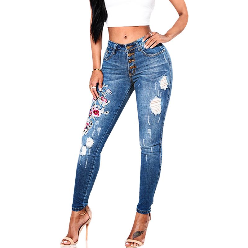 Women Blue Casual Skinny Stretch Hole Ripped Flower Embroidered Butt Lifting Full Length Mid Waist Pencil Pants Jeans Plus Size