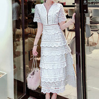 High Quality Women's Elegant Layers Ruffles Dress 2019 Summer Short Sleeve Cake Dresses Casual Slim white Lace Dress