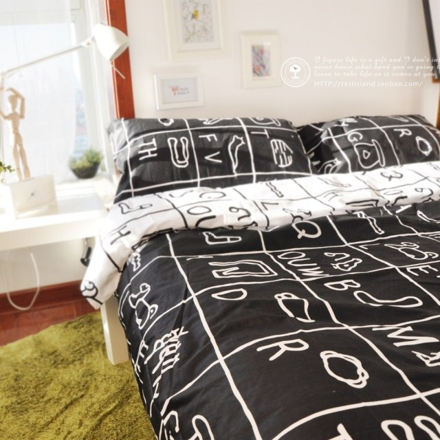Attrayant Brief Morden Squares Grid Black With White Kids Bedding Sets, Boys Cool  Duvet Covers,