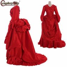 Cosplaydiy Marie Antoinette бальное платье в стиле барокко, бальное платье Брэма Стокера, костюм Дракулы 18 века, красное платье в стиле колонии, платье Рококо Белль