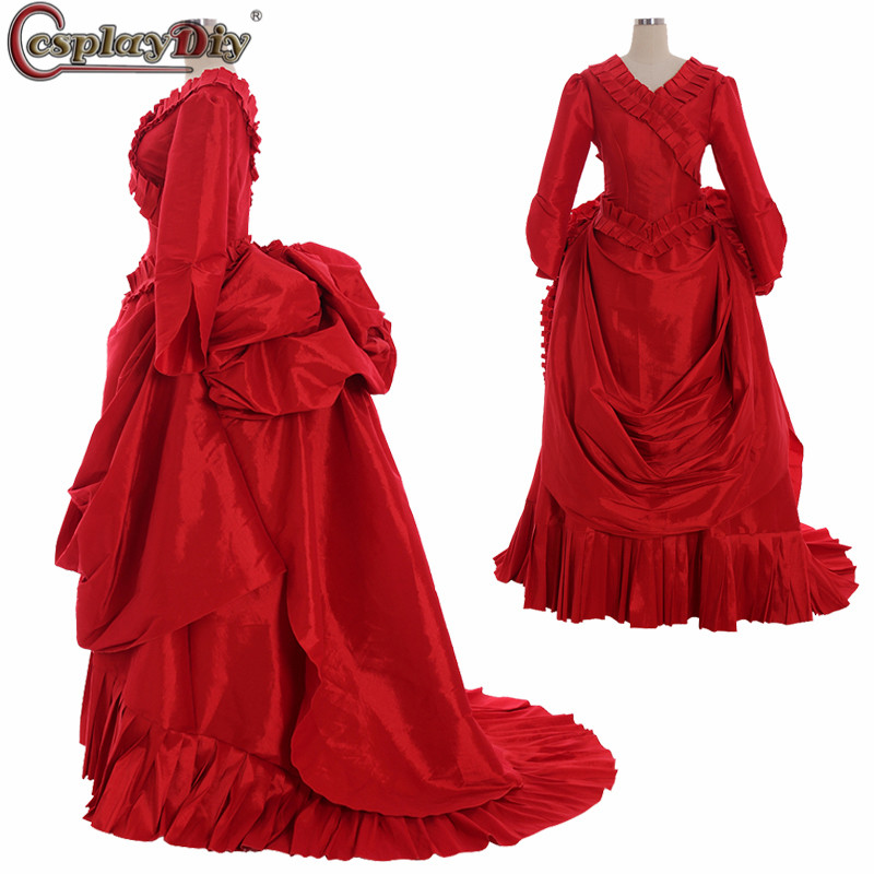 Cosplaydiy Marie Antoinette robe de bal Baroque Bram Stoker Costume Dracula 18th siècle robe rouge coloniale Rococo Belle robe