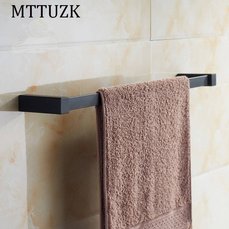 MTTUZK Black stainless steel square towel bar towel rack Rubber bath towel rack hanging toalha bar Bathroom Accessories stainless steel bathroom towel rack rotation activities bar single pole double hanging three bathrooms