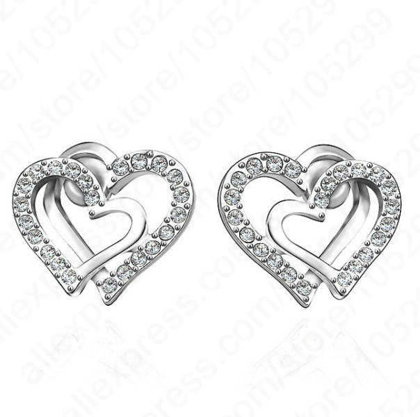 Jemmin 2017 Hot Sale Double Heart Korea Design Solid 925 Sterling Silver Stud Earrings Shiny Crystal Woman Jewelry