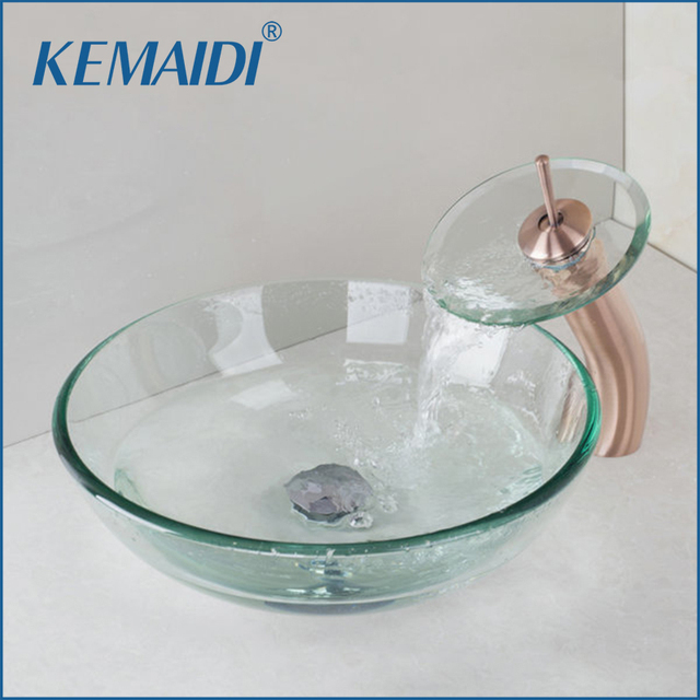 KEMAIDI Victory Glass Bowl Bathroom Sink Wash Basin With Antique Copper  Waterfall Faucet Tempered Glass Bathroom