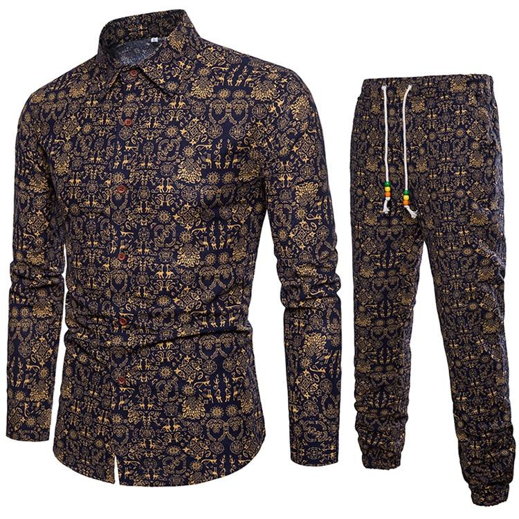 Рубашка + брюки дизайнерская рубашка мужская 2018 рубашка мужская с длинным рукавом Мужская s Кнопка хлопковые рубашки для мужчин плюс размер