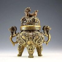 Chinese collection of ancient brass decoration dragon tiger incense burner