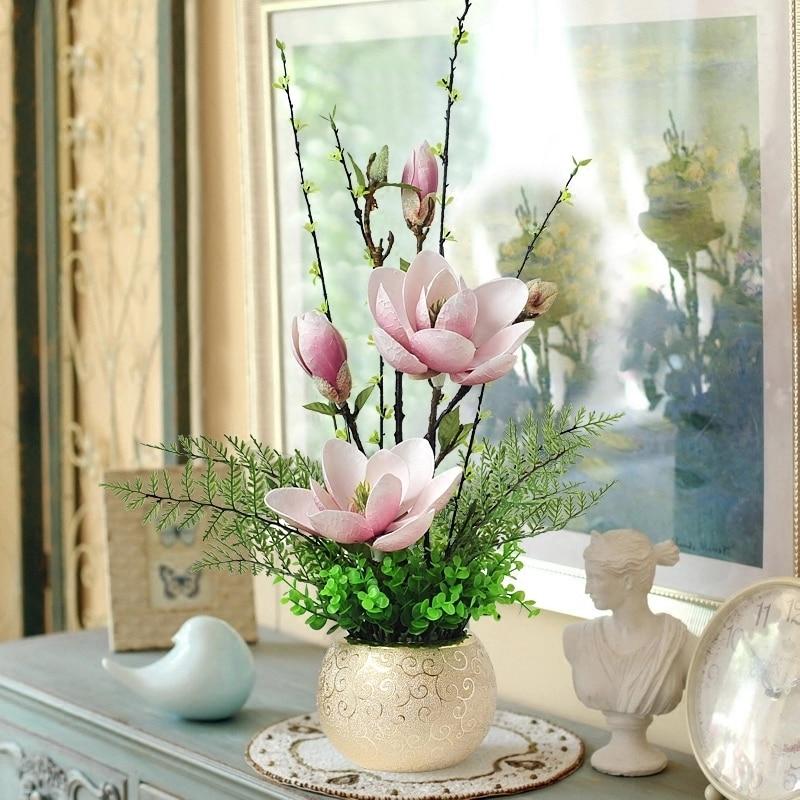 Magnolia Flower Artificial Flower Decoration Flower Arrangement Indoor Living Room Plastic Flower Home Decoration