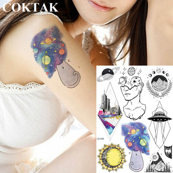 COKTAK Geometric Planets Universe Galaxy Temporary Tattoos Sticker Cartoon Spacecraft Fake Tattoo Starry Thinker Tatoos Body Art image