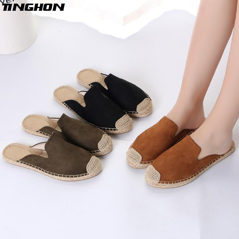 TINGHON NEW Fashion Simple Style Ethnic Casual Espadrilles Flat New Women Spring Slip on Fishermen Hemp Rope Shoes