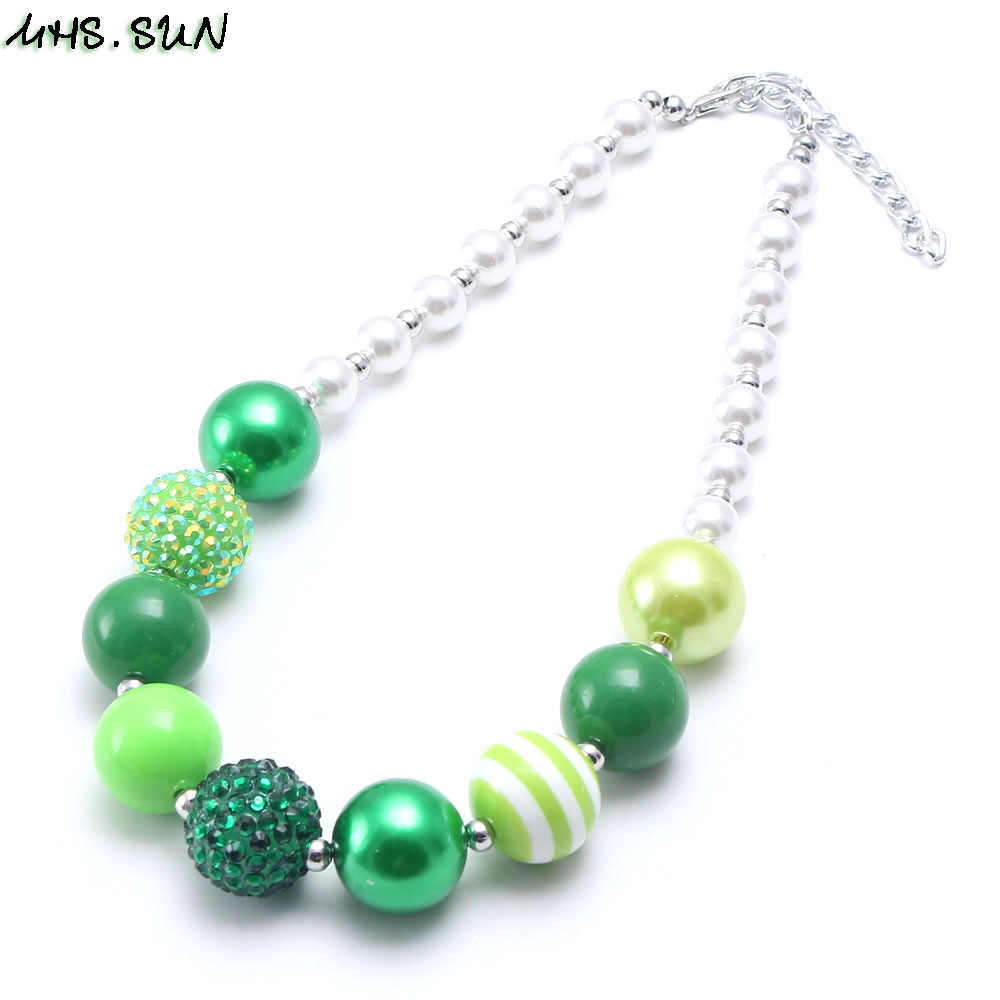 MHS.SUN Fashion Kids Girls Green Color Chunky Beads Necklace Spring Style Child Bubblegum Necklace Baby Chunky Jewelry Newest