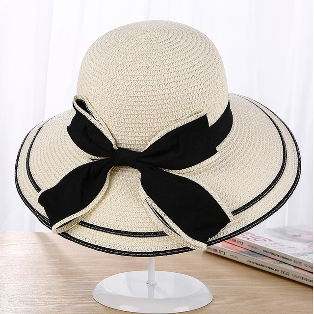 Sun Hat Big Black Bow Summer Hats For Women Foldable Straw Beach Panama Hat  Visor Wide Brim Femme Female 2018 New cee2cd22fe9e