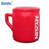 Envío Libre + ventilador 3 m Gigante Z061 Custpmzied Inflable Roja Tazas de Café/Taza de Café/inflable portavasos para la publicidad