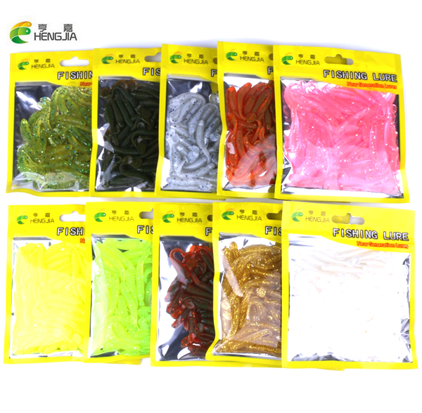 HENGJIA 50pcs/pack Fishing Lure Soft Bait 50mm/0.6g T Tail soft Fish SwimBait soft plastic worm bait Soft Lures Artificial Lures цена и фото