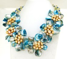 "Charm Crystal Blue Shell Mop Freshwater Pearl 6Flower Semi Precious Stone Bead Necklace 16""(China)"