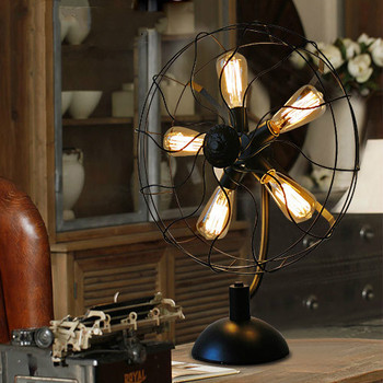 American country bedside table lamp bedroom living room dining room study retro Edison led wrought iron fan table lamp