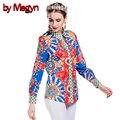 Por megyn blusas soltas das mulheres elegante blusa de manga longa tops blusas camisa impressão ocasional do vintage plus size clothing dg163