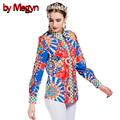by Megyn Women's Blouses Loose Elegant Long Sleeve Blouse Tops Casual Vintage Printing Shirt Plus Size Clothing Blusas DG163