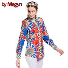 by Megyn Women's Blouses Loose Elegant Long Sleeve plaid Print shirt women Blouses Vintage female plus size XXXL women shirt