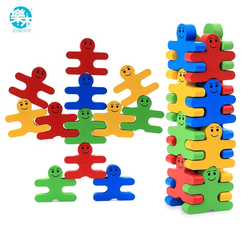 Baby Wooden font b Toys b font blocks balance game building block Early Educational brick font