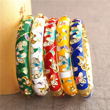 Colorful Double Chinese Cloisonne Enamel Bangles For Women rhinestone Bangle Fashion Ethnic Jewelry  birthday Gift